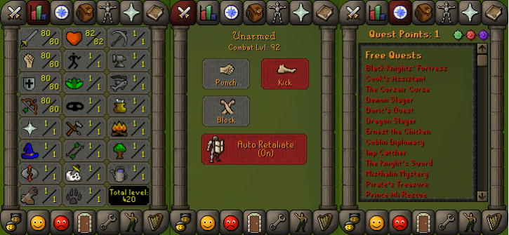RS 07 Account (ATK 80, STR 80,DEF 80, RNG 80)